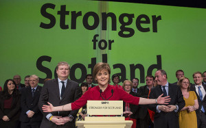 epa04685522 Scottish National Party (SNP) leader Nicola Sturgeon (C) after delivering her closing speech at the party's spring conference in Glasgow, Scotland, 29 March 2015. The SNP are hosting their 2015 Campaign Conference in Glasgow on 28/29 March 2015. EPA/STRINGER